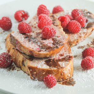 Rustic raspberry French toast with coconut chocolate sauce Handful ofhellip
